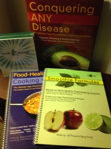 Food Healing Books and DVDs for sale and loaners{iphoto by & at Abintra)