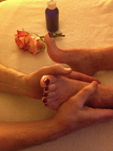 Preparation for Foot Reflexology Massage taken at Abintra